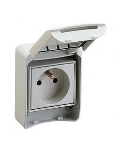 81140 - PratiKa - prise de courant FR 2P+T - 65x85mm - 10/16A 250V - IP55 - gris RAL7035 - Schneider