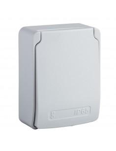 81144 - PratiKa - prise de courant UK 2P+T - 65x85mm - 10/16A 250V - IP65 - gris RAL7035 - Schneider