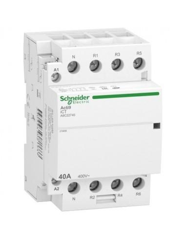 A9C22740 - Acti9 iDT40 CT - contacteur tête de groupe - 40A 3P+N 4NF 230/240VAC 50HZ - Schneider