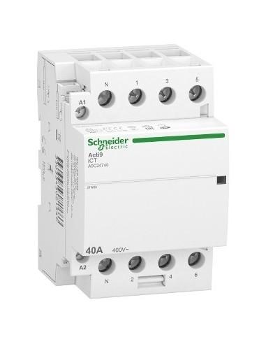 A9C24740 - Acti9 iDT40 CT - contacteur tête de groupe - 40A 3P+N 4NO 230/240VAC 50HZ - Schneider
