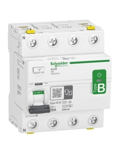 A9Z64425 - Acti9 - interrupteur différentiel - 4P - 25A - 300mA - type B - SI - 400V - Schneider