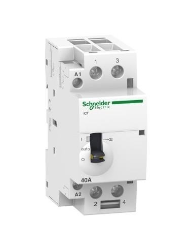 A9C21862 - Acti9, iCT contacteur à commande manuelle 63A 2NO 220...240VCA 50Hz - Schneider