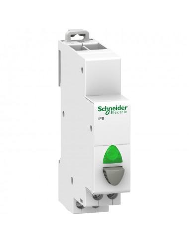 A9E18038 - Acti9, iPB bouton-poussoir lumineux 1 NO gris + voyant vert 12...48VCA/VCC - Schneider