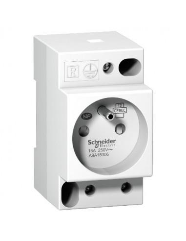 A9A15306 - Prise de courant modulaire 16A 2P+T standard français 250V - Schneider