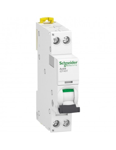 A9P12610 - Acti9 iDT40T - disjoncteur modulaire - 1P+N - 10A - courbe B - 4500A/6kA - Schneider