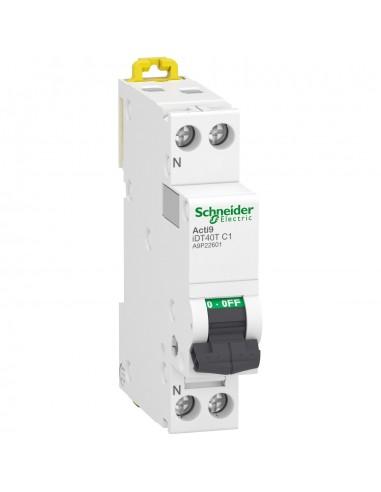 A9P22602 - Acti9 iDT40T - disjoncteur modulaire - 1P+N - 2A - courbe C - 4500A/6kA - Schneider