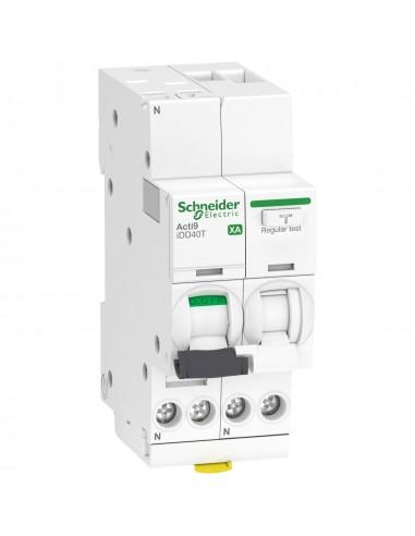 A9DP6610 - ACTI9 iDD40T XA - disjoncteur différentiel auto - 1P+N C 10A 4500A/6kA 300mA AC - Schneider